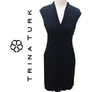 Trina Turk Size 4 Little Black Dress Solid Sheath